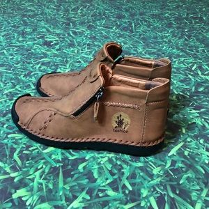 Fashion Moccasin Shoes Brown Soft Stitched Native Size 44 loafer slip on